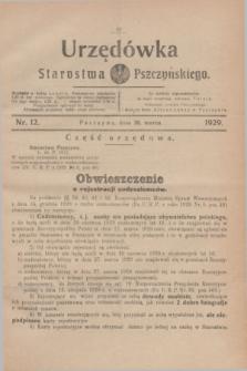 Urzędówka Starostwa Pszczyńskiego. 1929, nr 12 (30 marca)