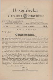 Urzędówka Starostwa Pszczyńskiego. 1929, nr 14 (13 kwietnia)