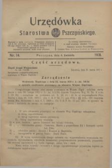 Urzędówka Starostwa Pszczyńskiego. 1931, nr 14 (4 kwietnia)