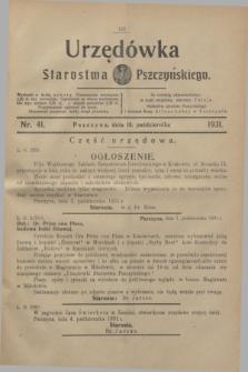 Urzędówka Starostwa Pszczyńskiego. 1931, nr 41 (10 października)