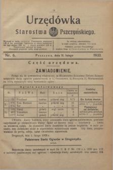 Urzędówka Starostwa Pszczyńskiego. 1933, nr 6 (11 lutego)