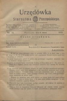 Urzędówka Starostwa Pszczyńskiego. 1933, nr 10 (11 marca)