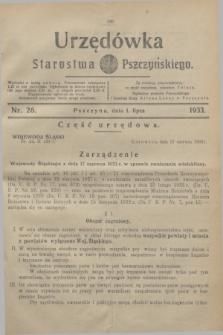 Urzędówka Starostwa Pszczyńskiego. 1933, nr 26 (1 lipca)