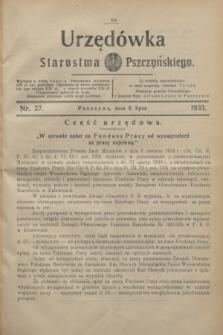 Urzędówka Starostwa Pszczyńskiego. 1933, nr 27 (8 lipca)