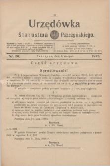 Urzędówka Starostwa Pszczyńskiego. 1928, nr 26 (4 sierpnia)