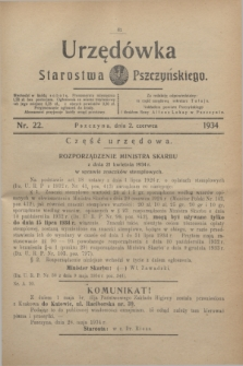 Urzędówka Starostwa Pszczyńskiego. 1934, nr 22 (2 czerwca)