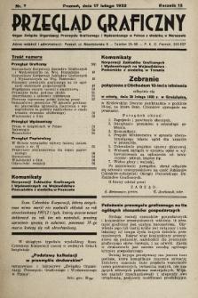 Przegląd Graficzny : Organ Związku Organizacyj Przemysłu Graficznego i Wydawniczego w Polsce z siedzibą w Warszawie. R. 13, 1932, nr7