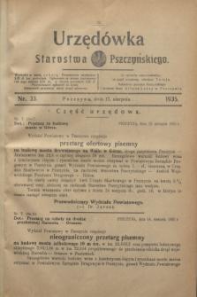 Urzędówka Starostwa Pszczyńskiego. 1935, nr 33 (17 sierpnia)
