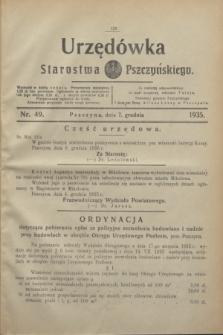 Urzędówka Starostwa Pszczyńskiego. 1935, nr 49 (7 grudnia)