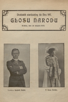 """Dodatek niedzielny do nr 197 """"Głosu Narodu"""". 1905"""