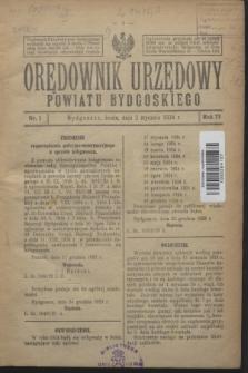 Orędownik Urzędowy Powiatu Bydgoskiego. R.73, nr 1 (2 stycznia 1924)