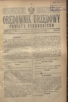 Orędownik Urzędowy Powiatu Bydgoskiego. R.73, nr 5 (30 stycznia 1924)