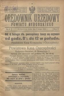 Orędownik Urzędowy Powiatu Bydgoskiego. R.73, nr 6 (6 lutego 1924)