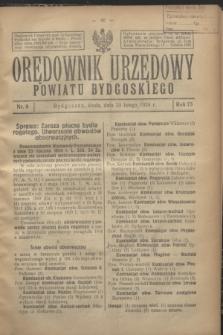 Orędownik Urzędowy Powiatu Bydgoskiego. R.73, nr 8 (20 lutego 1924)