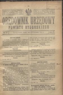 Orędownik Urzędowy Powiatu Bydgoskiego. R.73, nr 17 (23 kwietnia 1924)