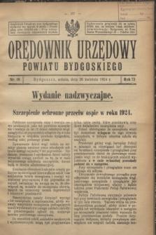 Orędownik Urzędowy Powiatu Bydgoskiego. R.73, nr 18 (26 kwietnia 1924)