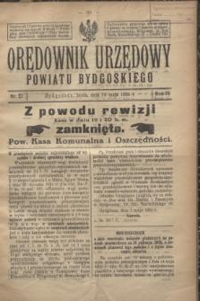 Orędownik Urzędowy Powiatu Bydgoskiego. R.73, nr 21 (14 maja 1924)