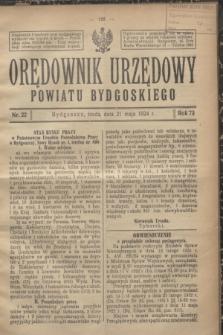 Orędownik Urzędowy Powiatu Bydgoskiego. R.73, nr 22 (21 maja 1924)
