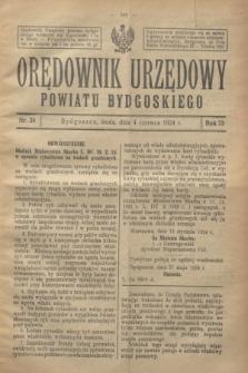 Orędownik Urzędowy Powiatu Bydgoskiego. R.73, nr 24 (4 czerwca 1924)