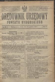 Orędownik Urzędowy Powiatu Bydgoskiego. R.73, nr 26 (18 czerwca 1924)