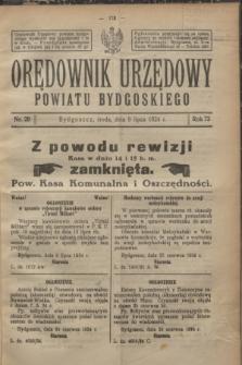 Orędownik Urzędowy Powiatu Bydgoskiego. R.73, nr 29 (9 lipca 1924)