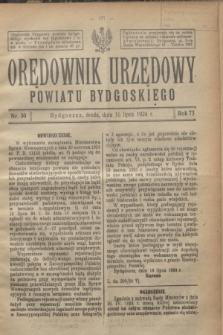 Orędownik Urzędowy Powiatu Bydgoskiego. R.73, nr 30 (16 lipca 1924)
