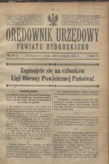 Orędownik Urzędowy Powiatu Bydgoskiego. R.73, nr 33 (6 sierpnia 1924)