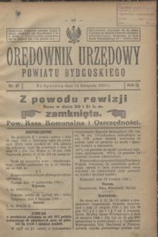 Orędownik Urzędowy Powiatu Bydgoskiego. R.73, nr 47 (12 listopada 1924)