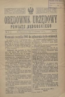 Orędownik Urzędowy Powiatu Bydgoskiego. R.74, nr 2 (14 stycznia 1925)