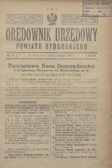 Orędownik Urzędowy Powiatu Bydgoskiego. R.74, nr 5 (4 lutego 1925)