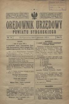 Orędownik Urzędowy Powiatu Bydgoskiego. R.74, nr 14 (8 kwietnia 1925)
