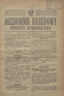 Orędownik Urzędowy Powiatu Bydgoskiego. R.74, nr 15 (15 kwietnia 1925)