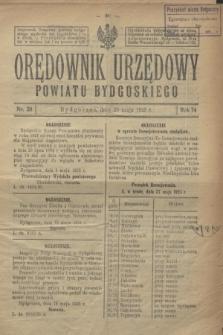 Orędownik Urzędowy Powiatu Bydgoskiego. R.74, nr 20 (20 maja 1925)