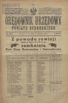 Orędownik Urzędowy Powiatu Bydgoskiego. R.74, nr 24 (17 czerwca 1925)