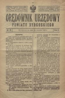 Orędownik Urzędowy Powiatu Bydgoskiego. R.74, nr 25 (24 czerwca 1925)