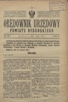 Orędownik Urzędowy Powiatu Bydgoskiego. R.74, nr 26 (1 lipca 1925)