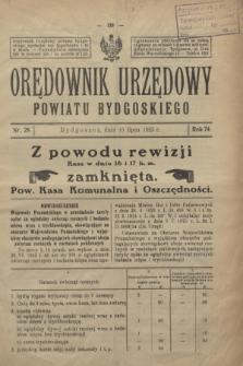 Orędownik Urzędowy Powiatu Bydgoskiego. R.74, nr 28 (15 lipca 1925)
