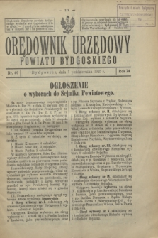 Orędownik Urzędowy Powiatu Bydgoskiego. R.74, nr 40 (7 października 1925)