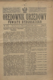 Orędownik Urzędowy Powiatu Bydgoskiego. R.74, nr 42 (21 października 1925)