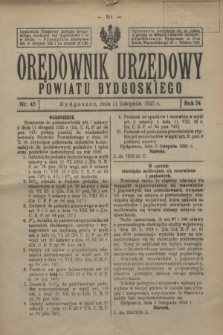 Orędownik Urzędowy Powiatu Bydgoskiego. R.74, nr 45 (11 listopada 1925)