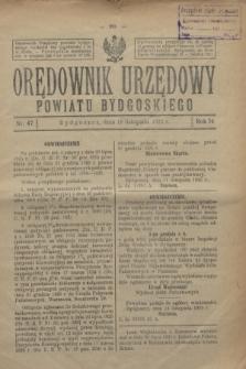 Orędownik Urzędowy Powiatu Bydgoskiego. R.74, nr 47 (18 listopada 1925)