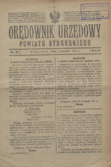 Orędownik Urzędowy Powiatu Bydgoskiego. R.74, nr 49 (2 grudnia 1925)