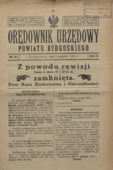 Orędownik Urzędowy Powiatu Bydgoskiego. R.74, nr 50 (9 grudnia 1925)
