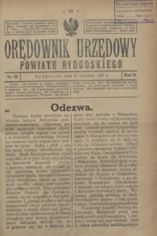 Orędownik Urzędowy Powiatu Bydgoskiego. R.76, nr 39 (21 września 1927)