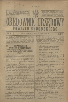 Orędownik Urzędowy Powiatu Bydgoskiego. R.77, nr 31 (25 lipca 1928)