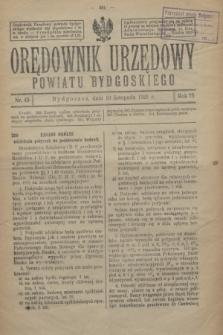 Orędownik Urzędowy Powiatu Bydgoskiego. R.75, nr 45 (10 listopada 1926)
