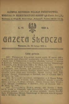 Gazeta Śledcza. [R.2], L. 12 (16 lutego 1920)