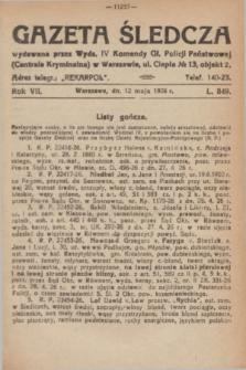 Gazeta Śledcza. R.7, L. 849 (12 maja 1926)
