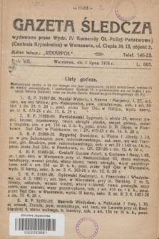 Gazeta Śledcza. R.7, L. 865 (1 lipca 1926)