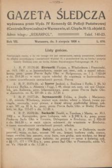 Gazeta Śledcza. R.7, L. 870 (3 sierpnia 1926)